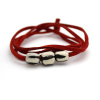 red suede bracelet wrap bracelet bone beaded bracelet by BeaKez
