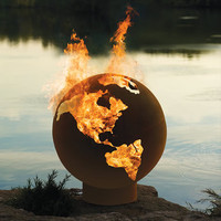 The Athletes&#x27; Village Fire Pit Globe - Hammacher Schlemmer