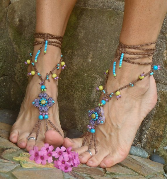 gypsy PURPLE BAREFOOT SANDALS with crochet brown lace by GPyoga