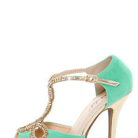 Tiara 1 Mint and Gold Rhinestone T-Strap High Heels