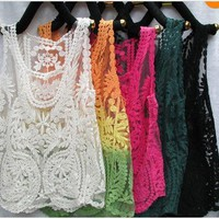 singlelady  Sleeveless crochet vest gauze embroidery crochet vest bud silk blouse