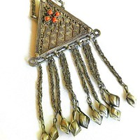 Old Turkoman Kazakh Design Headdress Ornament Pendant from Afghanistan