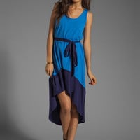 Bobi Colorblock Supreme Jersey Asymmetric Dress in Tropez/Yacht from REVOLVEclothing.com