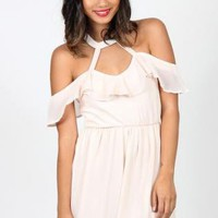 Cream Ruffle Dress with Cutout Detial