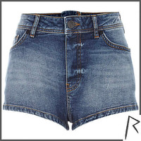 Mid wash Rihanna zip back denim shorts