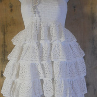 White ruffle dress  SALE eyelet lace  vintage  cotton boho romantic medium by vintage opulence on Etsy
