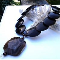 Earthy Agate Gemstone Pearl Brown Flat Oval Glass Bead Necklace