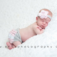 Ruffle Diaper Cover with Matching Flower Headband by GiggledPink