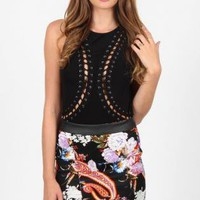 Origami Tropical Print Skirt with Overlapping Hemline Detail
