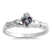 Sterling Silver Claddagh Ring size 2 Rainbow Mystic Topaz Baby Girl toe .925 b35