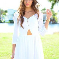 White Long Sleeve Dress with Cutout Button V-Neck Top