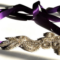 Purple and Rhinestone Ribbon Headband by SomethingColorful on Etsy