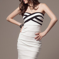 [FREE SHIPPING] White Knitting Sheath Dress