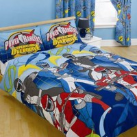 Power Rangers Double Duvet Cover and Pillowcase &#x27;3 Ranger Blue&#x27; Design Bedding