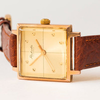 Unisex wrist watch Raketa gold plated AU 20 wristwatch brown leather watch