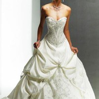 White Ball Gown Strapless Sweetheart Beading Embroidery Satin Wedding Dress