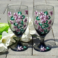 Red Flowered Wine Glasses Goblets