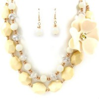 Blue Chip Unlimited - Chunky Ivory Colored Lucite Flower & Mixed Bead Multi Strand 17.5in Chain Sweater Necklace & Matching Earrings Set Fashion Jewelry:Amazon:Jewelry