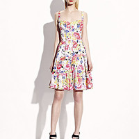 BetseyJohnson.com - TIERED BUTTON FRONT PRINT SUNDRESS WHITE MULTI