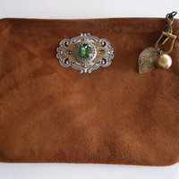 Suede Neo Victorian Style Bag with Vintage Key Chain by steamheat