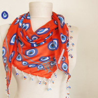 orange scarf evil eye scarf Turkish Oya Scar tringle scarf cotton scarves woman scarves