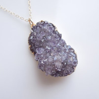 Amethyst Druzy Cluster Necklace, OOAK