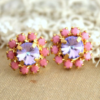 Pink Lilac Purple Stud earring Summer Spring collection  2013 - 14k plated gold post earrings real swarovski rhinestones.