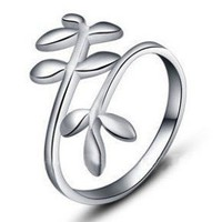 .925 Sterling Silver Flower Vine Open Back Adjustable Ring Band:Amazon:Jewelry