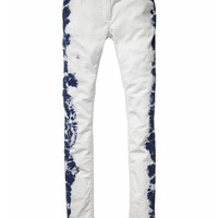 Skinny rib cord pants with tie-dye detail