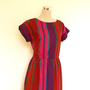 80&#x27;s summer dress / Vintage day dress / Short sleeved dress / Bright stripe cotton dress / Red pink blue stripes