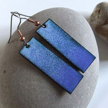 Lapis Blue Lavender Enamel Copper Rectangle Handmade Earrings | CrystalBazaar - Jewelry on ArtFire