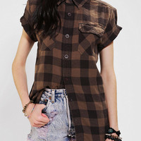 Urban Outfitters - Urban Renewal Rolled-Sleeve Flannel Boyfriend Shirt