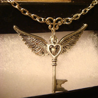 Heart Key With Wings Necklace in Antique Silver (1092)
