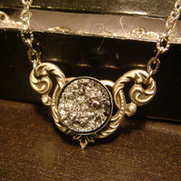 Victorian Style Silver Faux Druzy / Drusy Necklace in Antique Silver (1095)