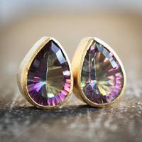 Sparkling Mystic Quartz Stud Earrings - Teardrop Post Earrings - Gemstone Studs