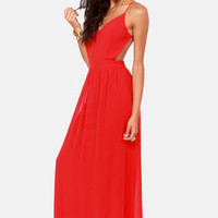 LULUS Exclusive Rooftop Garden Backless Red Maxi Dress