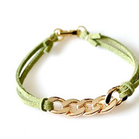 Gold Chain Suede Leather Bracelet - Green