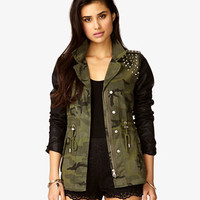 Faux Leather Spiked Camo Jacket | FOREVER 21 - 2028347575