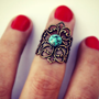 turquoise knuckle ring, above the knuckle ring, turquoise ring, antique brass ring, unique ring