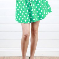 Green Polka Dot Skirt and Shop Skirts at MakeMeChic.com
