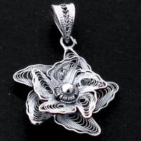 3.04gms INDONESIAN BALI FLOWER GARDEN 925 STERLING SILVER PENDANT JEWELRY C1126