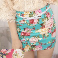 Vintage High Waisted Flower Short