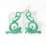 Turquoise Fish Earrings, Metal Chandelier Earrings, Pisces, Asian Inspired, Hand Painted, Sea Serpent, Koi, Water Sign, Zodiac Jewelry