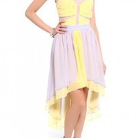 Colorblocked Mesh &amp; Chiffon Dress