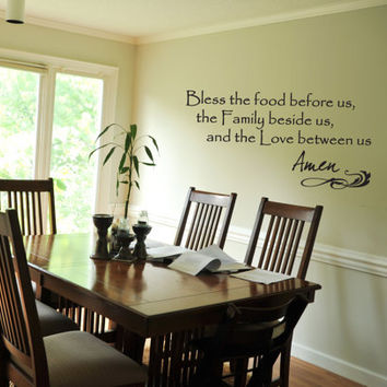Family Dining Room Wall Decal Bless The Food Before Us Quote Prayer