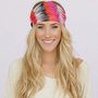 Feather Headband Wide Chiffon Bohemian Hippie Head Wrap in pink StretchY Elastic Women&#x27;s Hair Accessories Head Covering (HB-WDE100A)