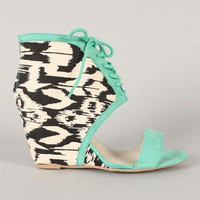 Qupid Flix-01 Printed Cuff Lace Up Open Toe Wedge