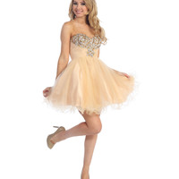 2013 Prom Dresses - Champagne & White Chiffon & Beaded Strapless Short Prom Dress - Unique Vintage - Prom dresses, retro dresses, retro swimsuits.