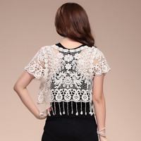 Tassels Embroidery Floral Lace Mini Shirt For Summer