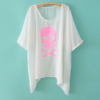 Pink Skull Sequins Batwing Thin Tops/Bikini Cover-up